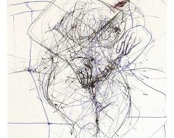 Seated figure study, original artwork