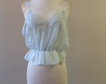 S/M / Sterling Customized Undies Cami Top Lingerie / Pale Blue Nylon with Lace