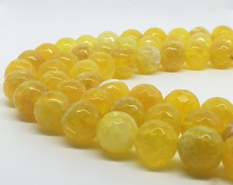1Full Strand 10mm Yellow Agate Faceted Round Beads, Wholesale Agate Gemstone For Jewelry Making