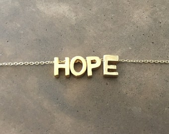 Gold Vermeil HOPE Necklace on a Gold Filled Chain