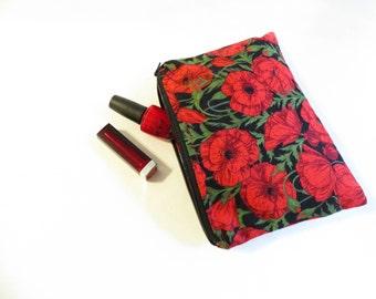 Zipper pouch - flower bag - zip pouch - purses - gift for her - cosmetic bag - zipper bag - red purse - flower purse - travel pouch