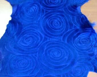 FREE SHIPPING!! Rose Pattern laser engraved engrave Royal Blue miniture lamb  skin hide leather