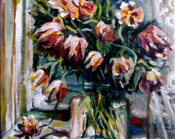 "Original Oil Painting, Still life Painting- Tulip Flowers, 1703081, 12""x9"""
