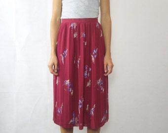 VINTAGE Viva House Burgundy Japanese Pleated Skirt Size XS (8)