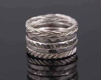 Sterling Silver Stacking Rings, Hammered Silver Rings, Varied Texture, Unique Rings, Set of Five, Hammered Silver Stacking Rings, Twist Ring