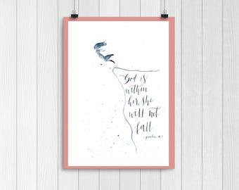 She will not fall watercolor art - Psalm 46:5