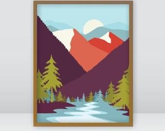 Pond, evergreens, nature, instant digital downloadable print, original art, 8x10
