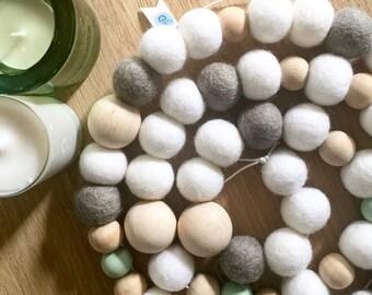 Wooden Bead Garland, Farmhouse Decor, Scandinavian Christmas, Rustic Christmas Decor, Felt Ball Garland, Nordic Nursery, Beaded Garland