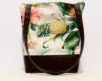 Tote Bag // Beach Bag // Pineapple Paradise Print // Pineapple Bag // True Leaf Collection
