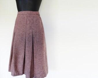 70s Wool Skirt, Pleated Midi Skirt, Vintage Skirt, Vintage Clothing, Boho