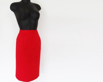 Vintage Red Pencil Skirt, Pinup Skirt, Retro, Vintage Clothing, Tight Skirt, UK8, Feminine, Skirt