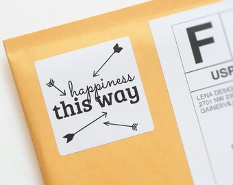 Happy Mail Stickers - Happiness This Way - Happy Stickers - Mailbox Happiness - Product Packaging Stickers - Envelope Label - Arrow Sticker