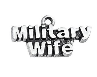 4 Military Wife Charms Antique Silver Wife Charms#658