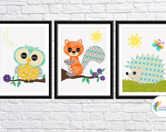 Nursery Forest Animal Prints - Set of 3 - Nursery Prints - Children's Wall Art - Girls Nursery Prints - Boys Nursery Prints - Animal Prints