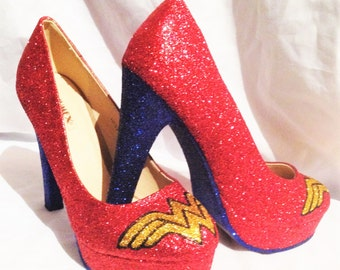 WONDER WOMAN inspired heels * * * sizes 3-8