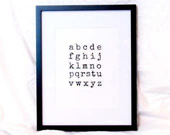 A-B-C-D-E-F-G Print Alphabet Digital Wall Art Letters Typography Print Instant Download