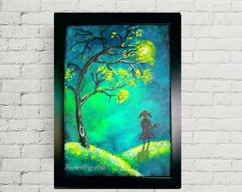 girl painting, original painting, forest painting, modern decor, wall art, girl wall art, night painting, framed wall art, acrylic painting