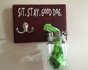 Pet leash and poop bag holder