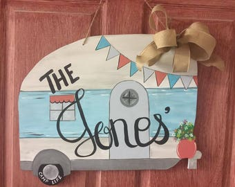 Camper Wooden Door Decor