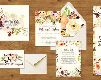 Autumn Watercolour Floral Wedding Invitations Stationery Set - Printed or Digital Download - Autumn Wedding - Wedding Printable