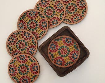 Set of six round drink coasters