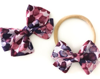 Signature Bow in Purple Watercolor - Girls Fabric Bow - Baby Girl Headband - Toddler Bow - Choose Nylon Headband or Clip