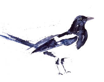 Magpie No.1 - Signed Print of my original watercolour painting