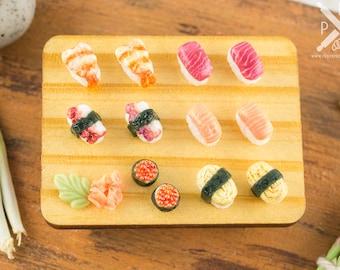 Sushi Set on Wooden Tray - 1:12 Dollhouse Miniature