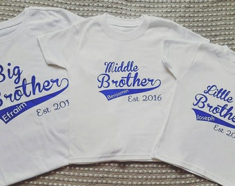 Personalised 3 brothers or Sisters Sibling T-shirts. Age 0-3 months to 16 years