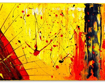 Acrylic - Fire Storm - 20x10 inch - ABSTRACT PAINTING