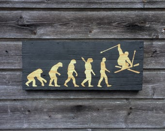 The evolution of man / table painting wood / skier / Ski / décor / cottage / table wood / 55cm x 22cm