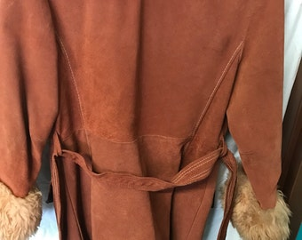 Vintage Leather And Faux Fur Overcoat