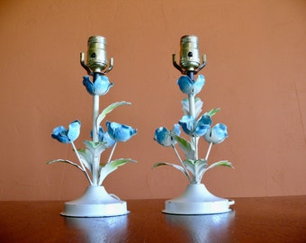 2 Blue Flower Metal Toleware Table Lamps, Painted Metal Tole Accent Lamps, Made in Italy, Cottage Lamps, Nursery Decor, Mid Century Lighting