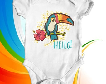 Hello Toucan Tropical Baby Bodysuit | Cute Baby Bodysuit | Wildlife Baby | Toucan Baby Bodysuit | Unisex Baby Clothes | Animal Baby Bodysuit