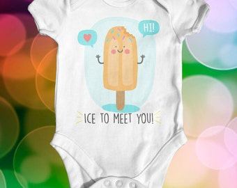 Ice To Meet You Baby Bodysuit | Baby Shower Gift | Funny Baby Bodysuit | Slogan Baby Bodysuit | Cute Baby Clothes | Newborn Baby Clothes