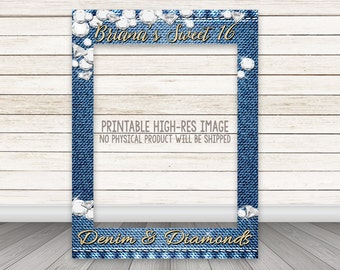 PRINTABLE Denim & Diamonds party photo booth frame, Gold Glitter Denim Diamonds photo booth prop frame, Birthday Photobooth, Sweet 16 Party