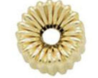 10.5x20mm Huge Gold FIlled Corrugated Roundelle Beads 14/20kt.