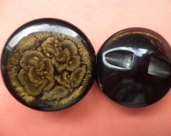 6 buttons black gold 24mm (5870) button