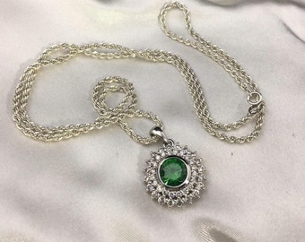 Sterling Silver Emerald & CZ Necklace