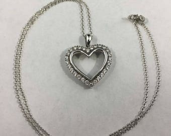 Vintage Sterling Silver CZ Heart Necklace
