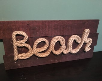 Rustic Beach Wall Art Made with Nautical Rope