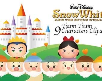 Snow White & 7 Dwarfs TSUM TSUM Characters. 9 High Resolution Clipart. Tsum Tsum Party. Baby shower. Party Supplies. Disney Princess.