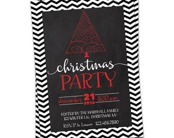 Christmas Invitation Printable, Chevron Christmas Party Invitation, Red and Black Christmas Invitation, Chevron Holiday Party Invitation