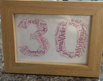 A4 Personalised Word Art Number Print 1st, 18th, 21st, 30th, 40th, 50th, 60th, 70th, 80th, 90th, 100th (UK ONLY)/Download