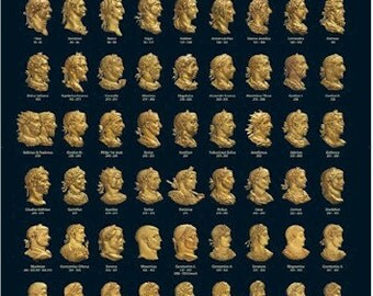Roman Emperors from coinage poster A3 (29.7cm x 42cm) [REPA3]