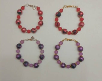 Purple or Red Drawbench Beaded Bracelet in antique gold or silver
