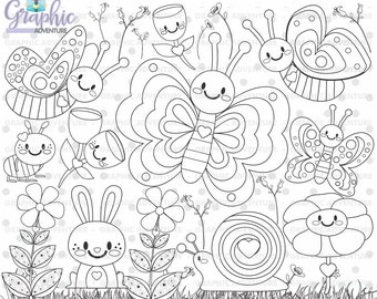 75off butterfly stamp commercial use digi stamp digital image - Coloring Pages Spring Butterflies