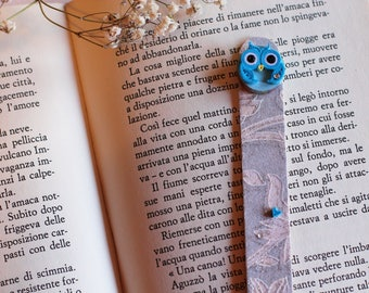 Bookmark in hand-printed paper quilling vitrified hand-precious-wood base-OWL