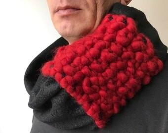 Wool scarf felted shawl neck warmer black red merino wool striped scarf wool hood wrap knited scarf