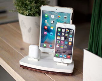 NytStnd AIRPODS TRIO 2 White - FREE Shipping Dock Charging Station Wireless for iPhone 8 AirPods iPad Birthday Gift Present